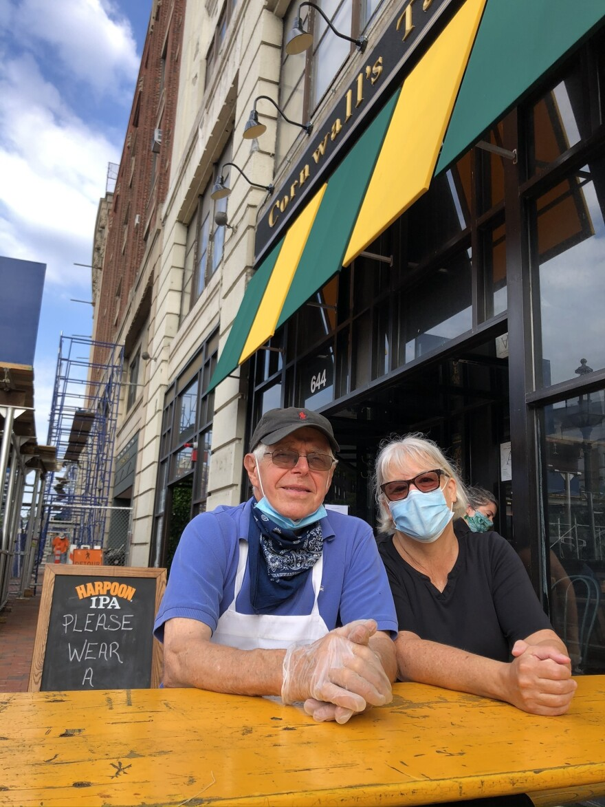 Pam and John Beale set up new sidewalk seating in front of Cornwall's, hoping the extra capacity would help them survive the pandemic. Their English-style pub has been a mainstay in Boston's Kenmore Square for nearly 40 years.