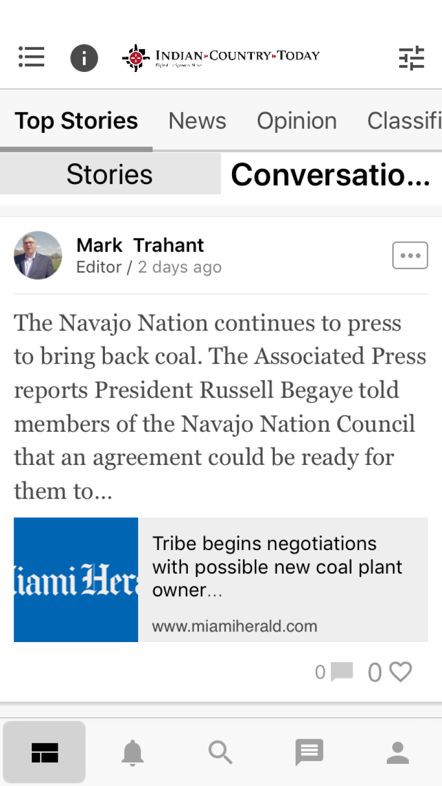 Screenshot of the Indian Country Today mobile app.