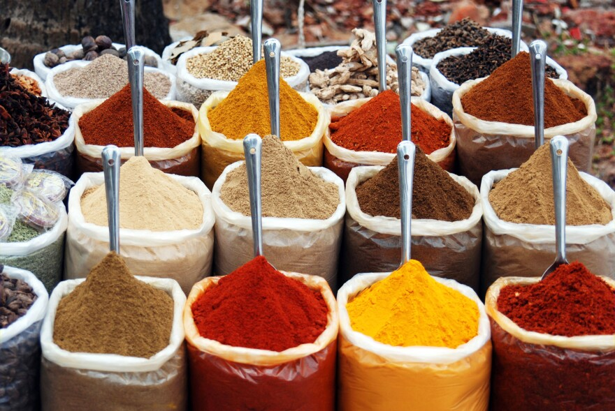 Indian spices for sale at the Anjuna flea market in Goa, India.