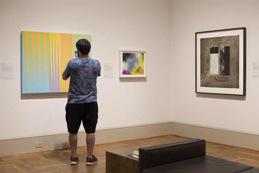 """A visitor takes a photo of """"Double Exposure"""" by James Little at the St. Louis Art Museum.  Oct. 9, 2019"""
