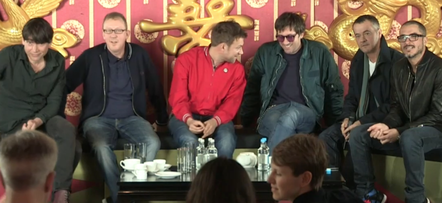 Blur, producer Stephen Street and BBC host Zane Lowe during the band's Facebook webcast.