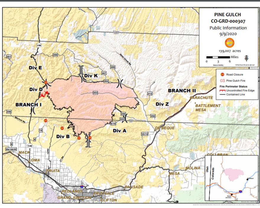 Pine Gulch Fire map for Sept. 9, 2020
