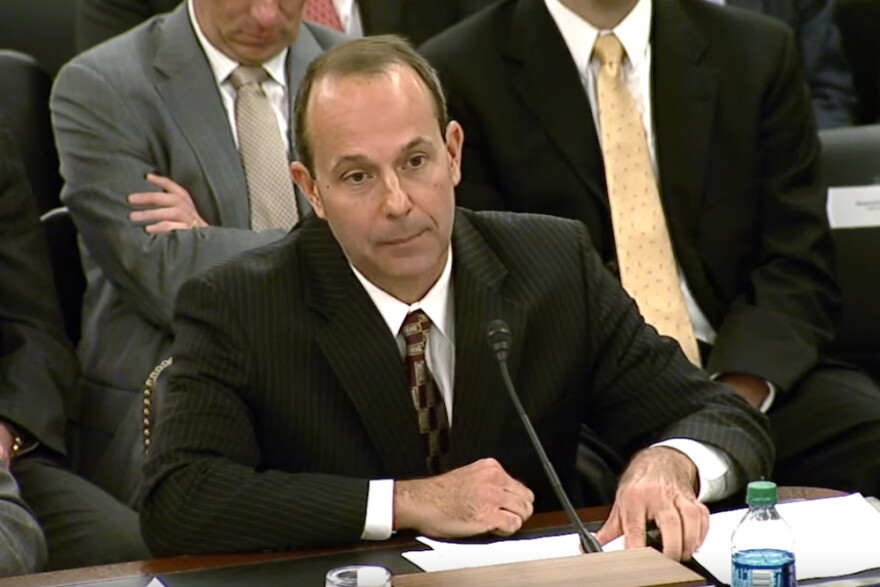 Kevin Ziober testifies before the U.S. Senate Committee on Veterans Affairs in  2016 about his firing from a California real estate firm.