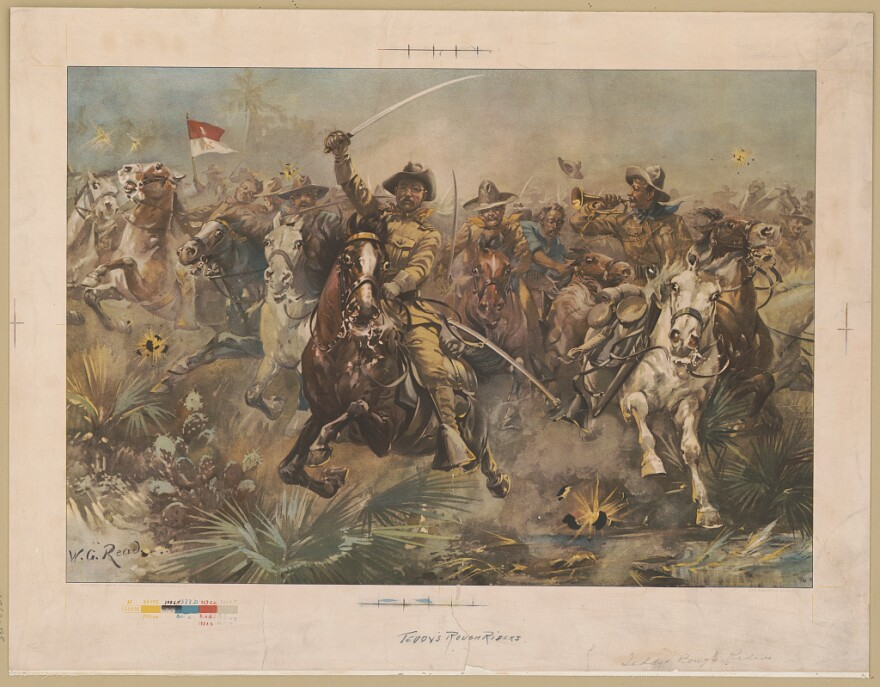 A print of Roosevelt and his rough riders on horseback.