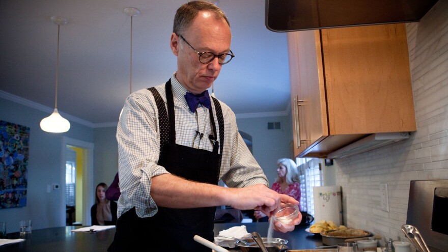 Chris Kimball, seen here cooking for a guest segment on <em>Morning Edition</em>, is leaving America's Test Kitchen over a contract dispute, the company says.