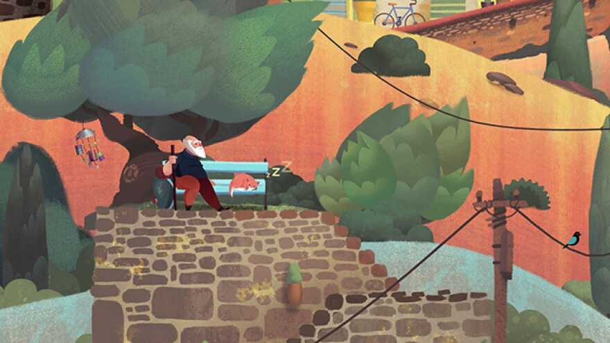 The vibrant, pastel-inspired art fits the story perfectly in <em>Old Man's Journey</em>.