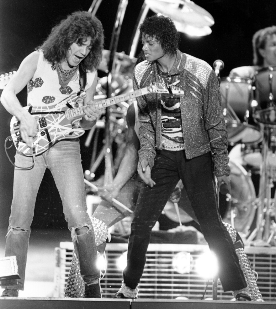 """Guitarist Eddie Van Halen came on stage during a Texas stop of Michael Jackson's 1984 tour to play on """"Beat It,"""" the Jackson hit that featured a solo by Van Halen. Now, questions about a guitar that the two supposedly signed have led to the cancellation of an auction of Jesse Jackson Jr.'s goods."""