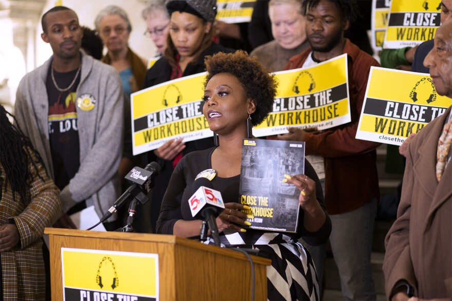 Inez Bordeaux, an organizer with Close the Workhouse, present's the group's new report during a press conference at City Hall on Jan. 14, 2020.