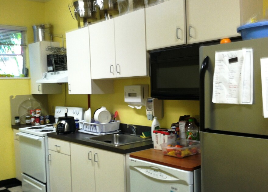 "The ""Harvest Room"" kitchen where veterans learn to cook with fresh vegetables grown in the garden."