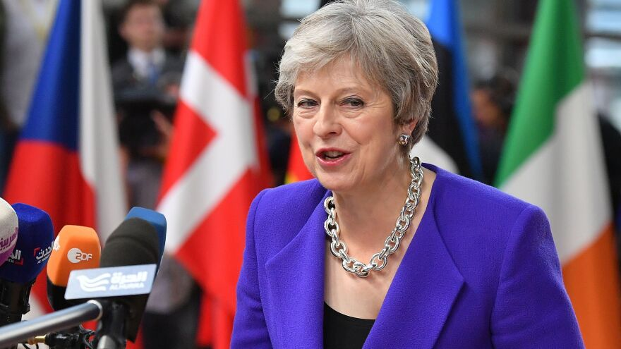 """""""There are issues remaining around the backstop,"""" Britain's Prime Minister Theresa May told reporters on Thursday, referring to the debate over how to treat Ireland and Northern Ireland when the U.K. leaves the EU."""