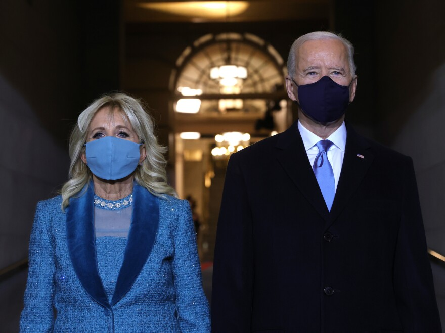 President-elect Joe Biden and Jill Biden arrive at his inauguration on the West Front of the U.S. Capitol on Wednesday.