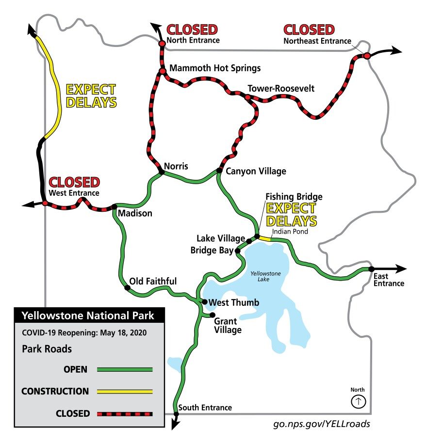 A map of which roads will be open and closed on May 18 in Yellowstone National Park.