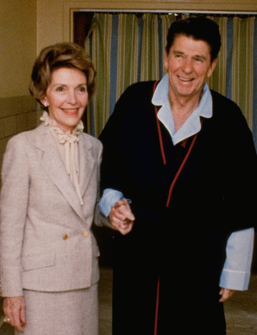 President Ronald Reagan and first lady Nancy Reagan are pictured at George Washington University Medical Center, where he is recovering from being shot, on April 3, 1981.