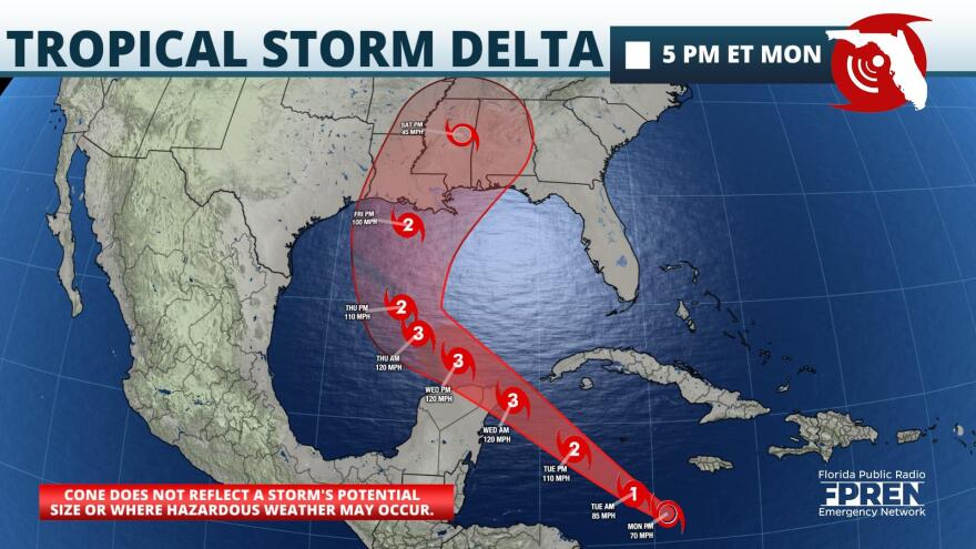 Tropical Storm Delta Forecast Track and Intensity