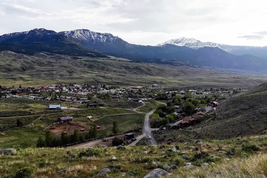The town of Gardiner, Montana spreads out along the Yellowstone River and the North Entrance to Yellowstone National Park, May 31, 2019.