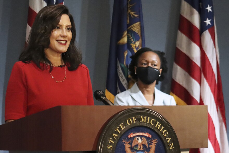 In this Sept. 16 file photo, Michigan Gov. Whitmer addresses the state during a speech in Lansing, Mich.