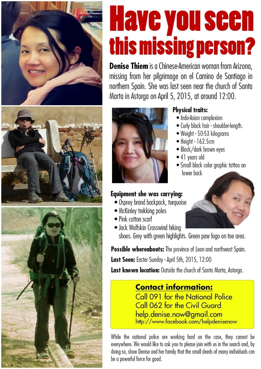 The missing person poster for Denise Thiem, an American woman who vanished while hiking Spain's Camino de Santiago.