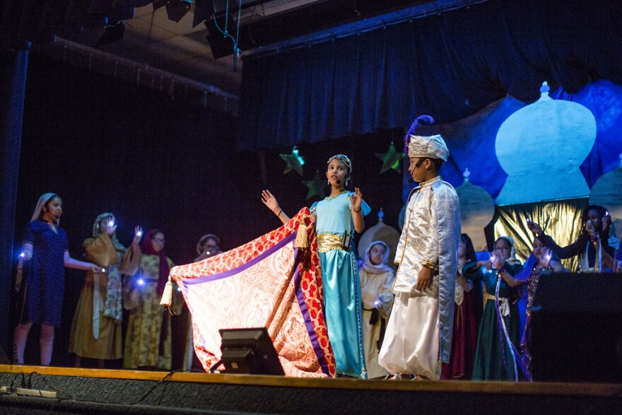 Palm Elementary students perform a scene from Aladdin