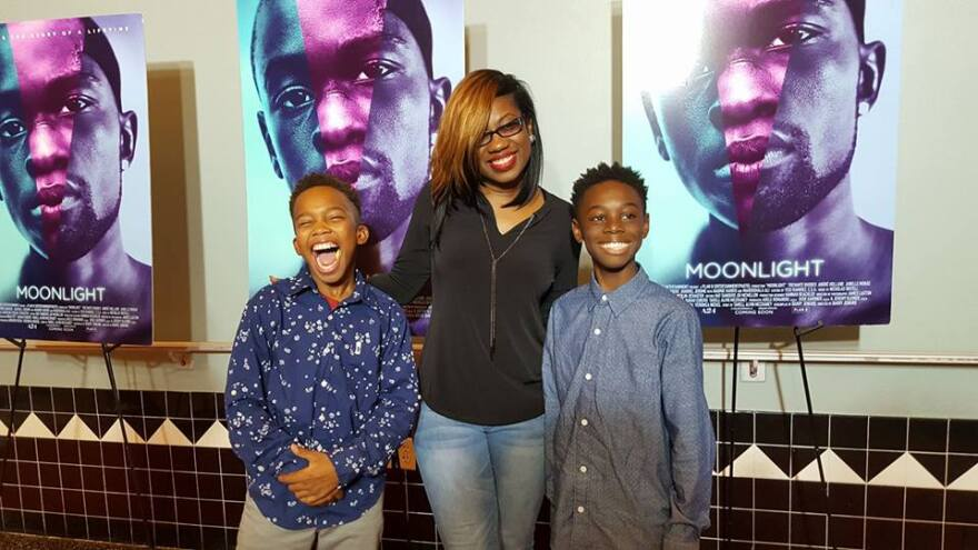 Tanisha Cidel, drama teacher at Norland Middle, with her students Jaden Piner (left) and Alex Hibbert (right) who star in the movie Moonlight.