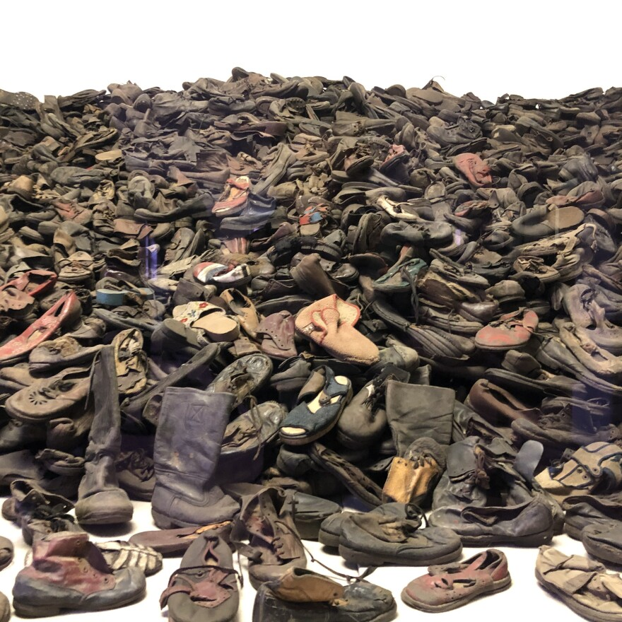 Thousands of shoes from people exterminated at Auschwitz make up one of the many exhibits at the museum on the site of the former death camp.