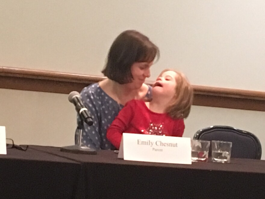 A photo of Emily Chestnut and her daughter Nora.