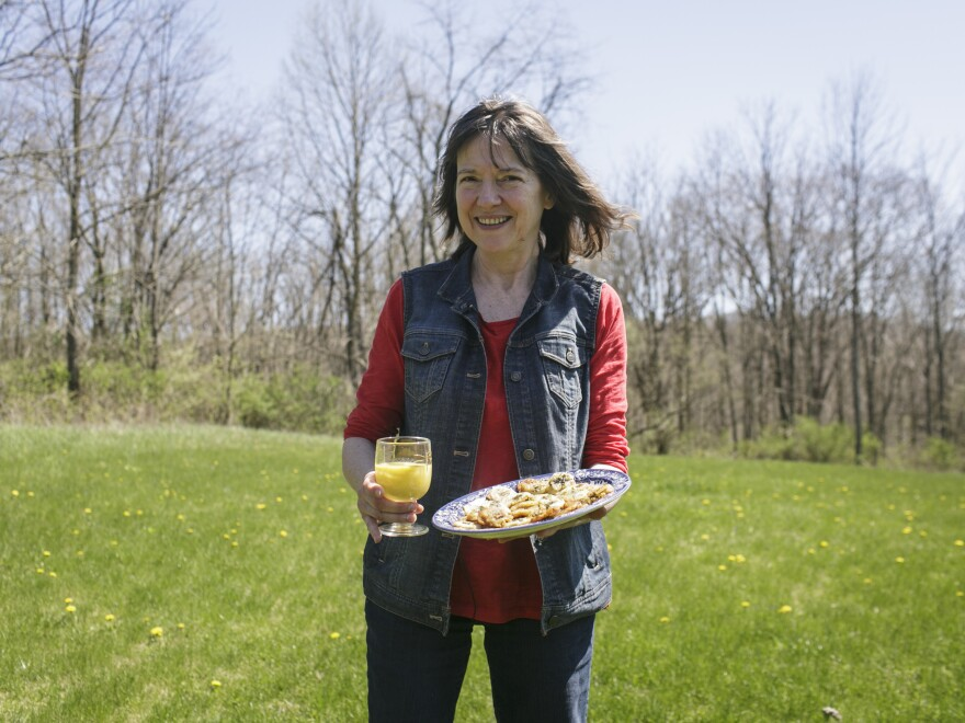 Debbie Naha made dandelion fritters and a dandelion smoothie with wild dandelion flowers.