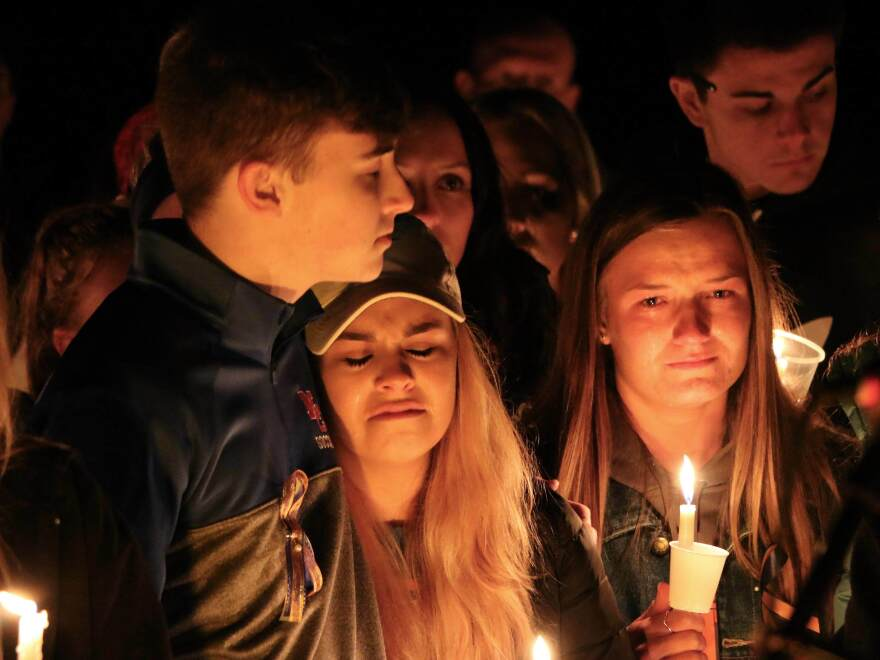 A vigil after the fatal shooting at Marshall County High School on Thursday, Jan. 25, 2018, in Benton, Ky.