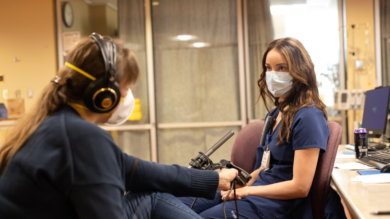 Sarah Fentem interviews a nurse