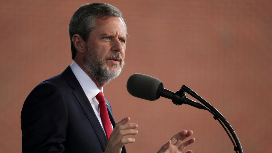 Jerry Falwell Jr. speaks at a Liberty University commencement in 2017 in Lynchburg, Va.