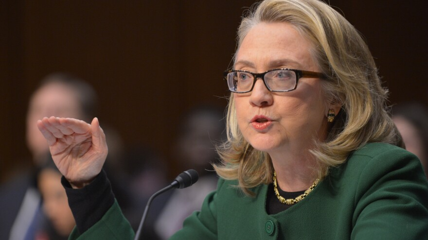 Secretary of State Hillary Clinton testifies in January 2013 before the Senate Foreign Relations Committee on the attack on the U.S. mission in Benghazi, Libya.