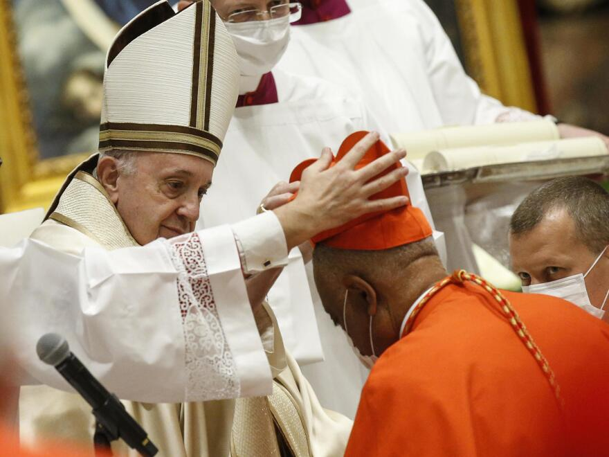 Archbishop Wilton Gregory of Washington, D.C., becomes a cardinal during a consistory on Saturday at St. Peter's Basilica in the Vatican.
