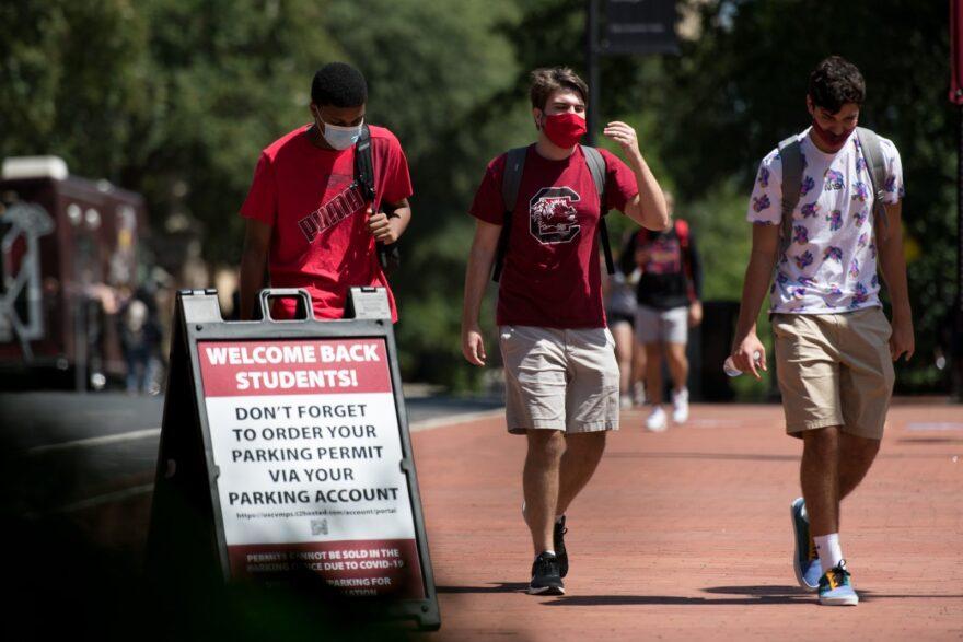 Students walk on campus at the University of South Carolina in Columbia, South Carolina.