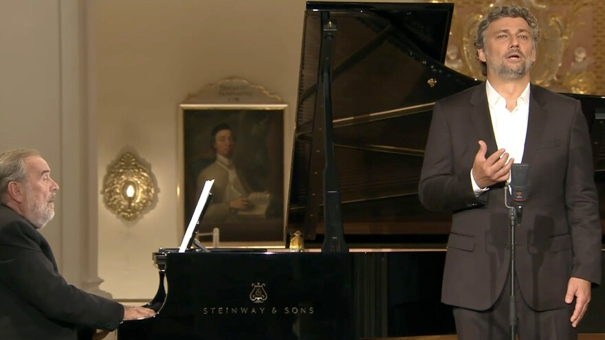 Tenor Jonas Kaufmann, with pianist Helmut Deutsch, in recital at a Baroque abbey in Bavaria. The performance was part of the Metropolitan Opera's new live streaming series.