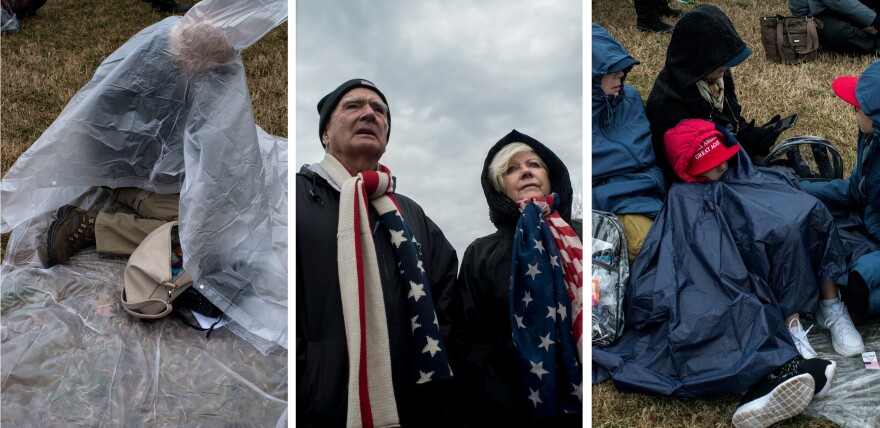 (Left) A woman covers herself from the rain as she waits for the start of the inauguration on the National Mall. (Center) A couple, in complementary scarves, watch as the crowd fills in. (Right) A child covers herself from the rain while laying on the ground at the Mall.