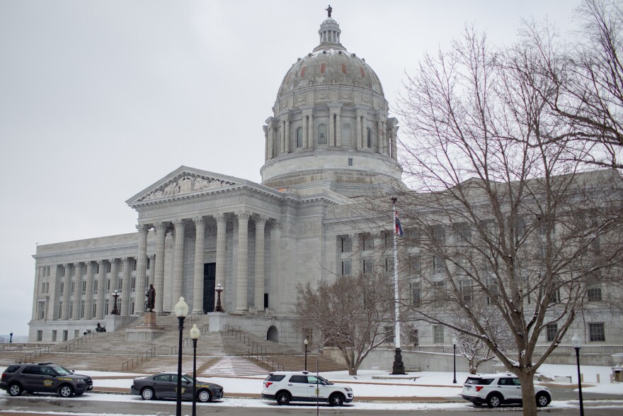 Snow blankets the ground before Missouri Governor Mike Parson is scheduled to give his State of the State address on Wednesday, January 27, 2021, at the Missouri State Capitol Building in Jefferson City.