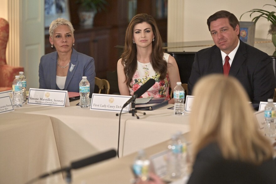 Education officials proposed the change to the statewide school curriculum in June, following discussions with First Lady Casey DeSantis (center), who has made the mental health issue one of her top priorities.