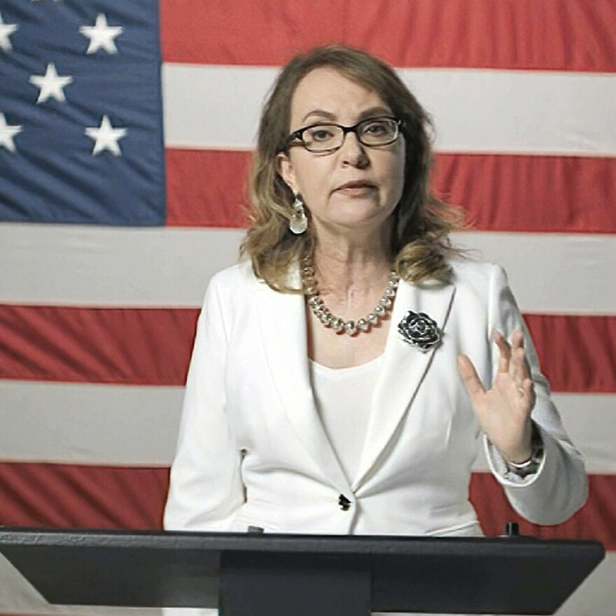 In this image from video, former Rep. Gabby Giffords, D-Ariz., speaks during Night 3, recounting Joe Biden's support for her after a mass shooting.