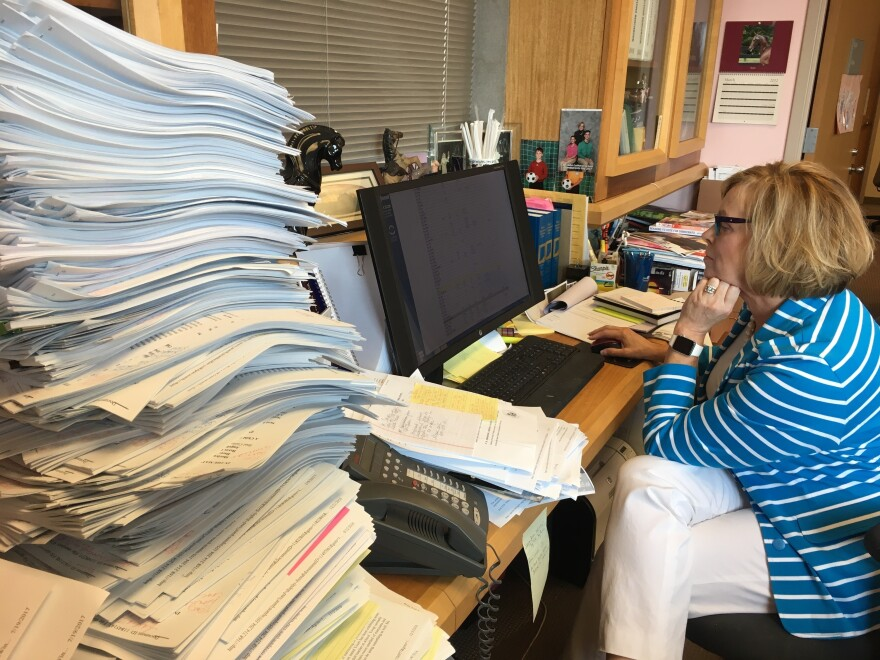 Judge Marilyn Moores, who presides over the juvenile court in Marion County, Ind., says the number of children who are in need of foster care because of the opioid epidemic has more than doubled in the past three years.