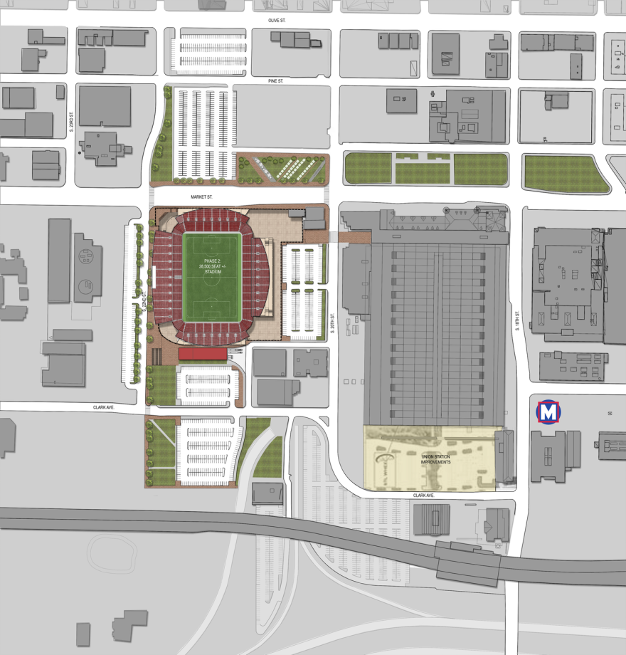 A map of where the soccer stadium would be located.
