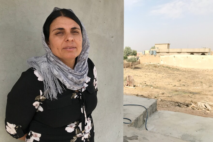 Kamo Zandinan in a village in the Sinjar region of northern Iraq. Zandinan returned to Sinjar in October. She is undergoing DNA tests conducted by investigators trying to confirm the identity of ISIS victims thrown into mass graves. Zandinan believes her husband and eldest son are among them.