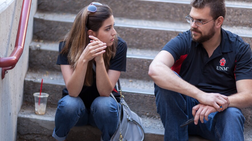 University of New Mexico students Monica Nezzer and Patrick Arite work 15 to 30 hours per week giving campus tours in order to help put themselves through college.