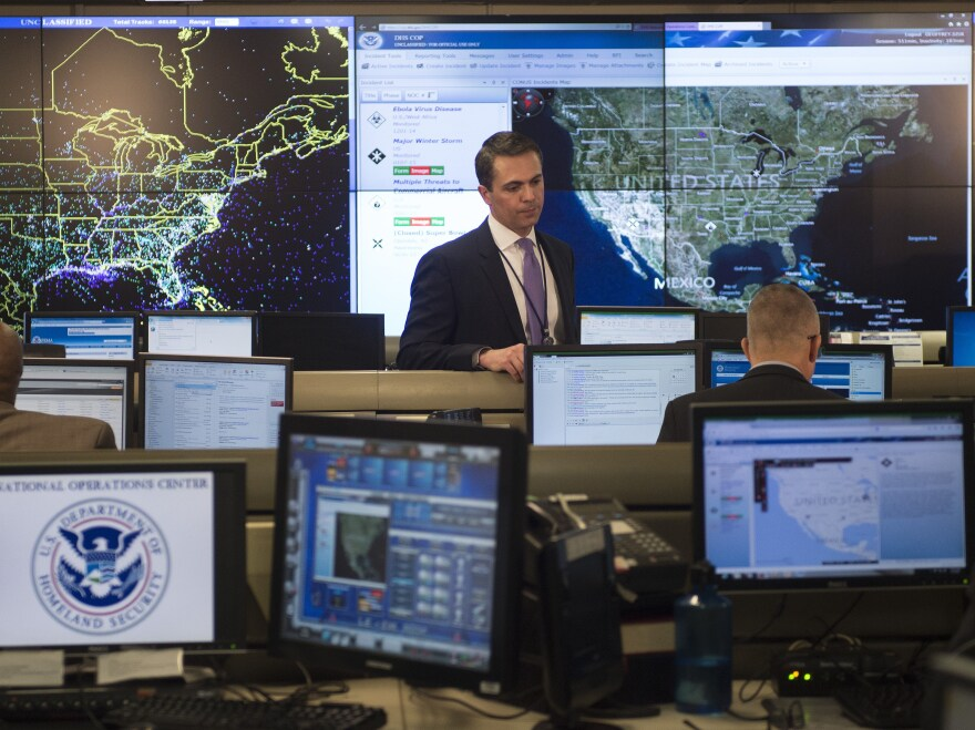 Workers at the Department of Homeland Security's National Operations Center in 2015. The Obama administration proposes $3.1 billion in upgrades to federal computer systems.