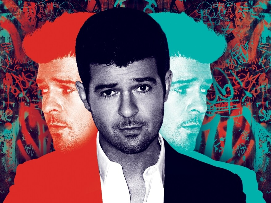 Robin Thicke on the cover of <em>Blurred Lines</em>.