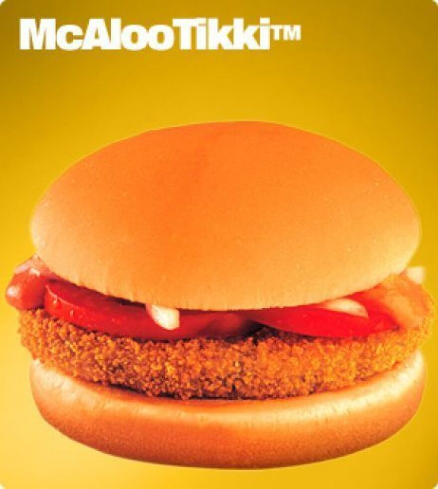 The McAloo Tikki will be available at the forthcoming vegetarian-only McDonald's restaurants in India.
