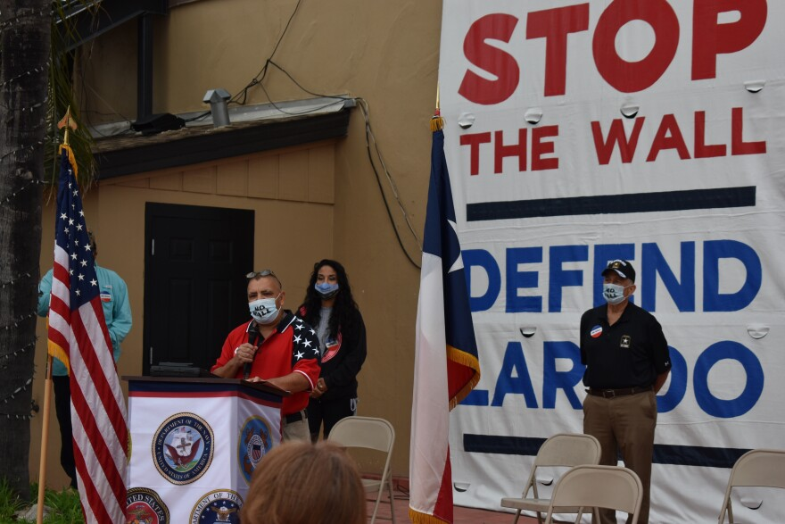 Jorge Martinez speaks at a gathering with the Laredo chapter of the League of United Latin American Citizens and the No Border Wall Coalition.