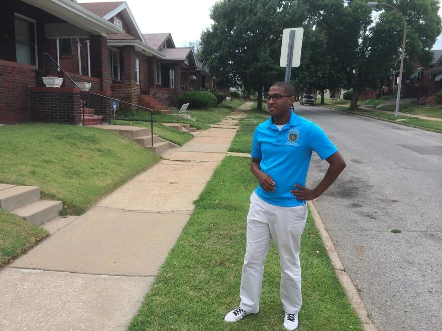 State Rep. Joshua Peters, D-St. Louis, campaigns in the Penrose neighborhood of St. Louis. Peters is running for re-election in the 76th District, which encompasses a portion of north St. Louis City.