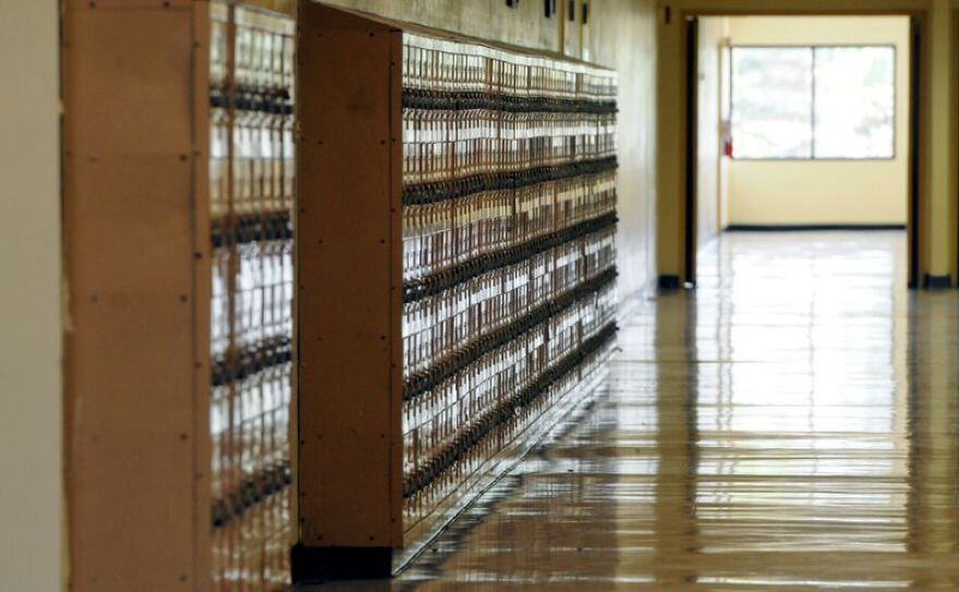 In this file photo, lockers line the hallway of Western High School in Davie.