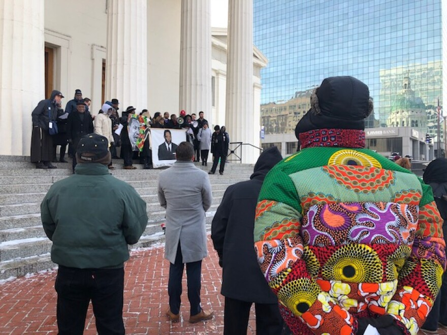 Locked out of the the Old Courthouse in St. Louis, leaders and citizens took part in an improvised King Day ceremony outside on Jan. 21, 2019.