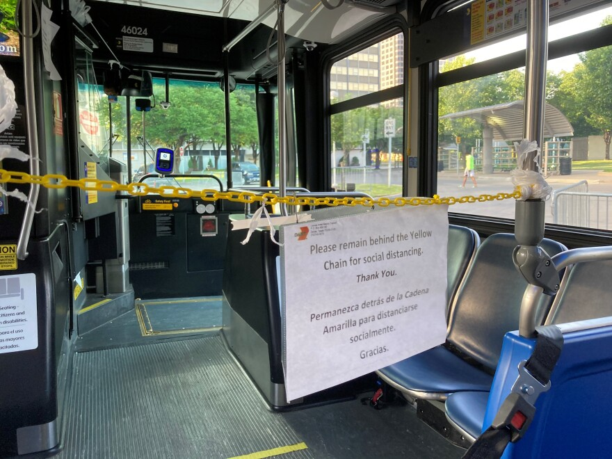 A look inside of a DART bus. In the picture you see a chained off front of the bus.