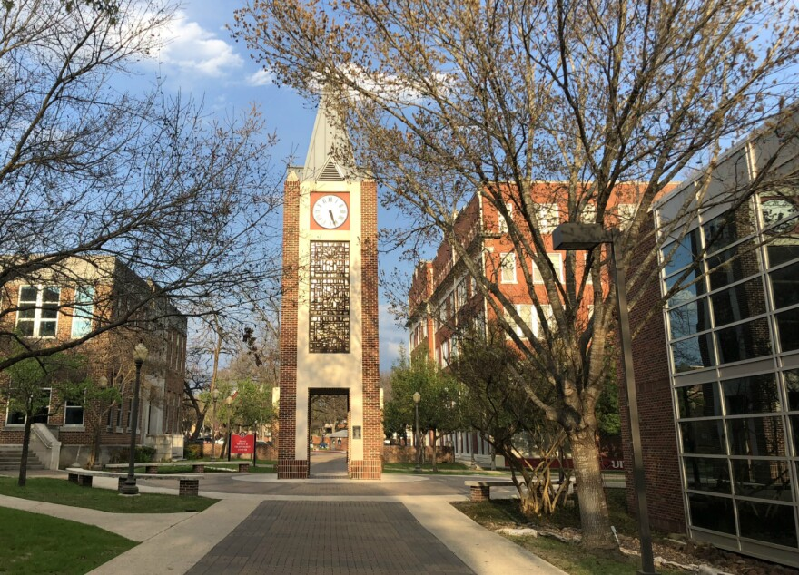 The clocktower at the University of the Incarnate Word in March 2018.